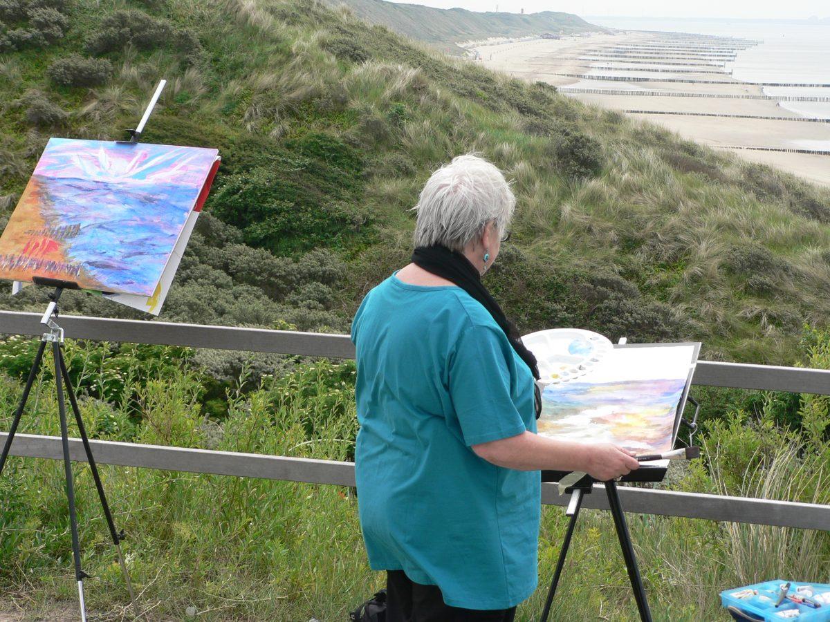cursist aan het schilderen